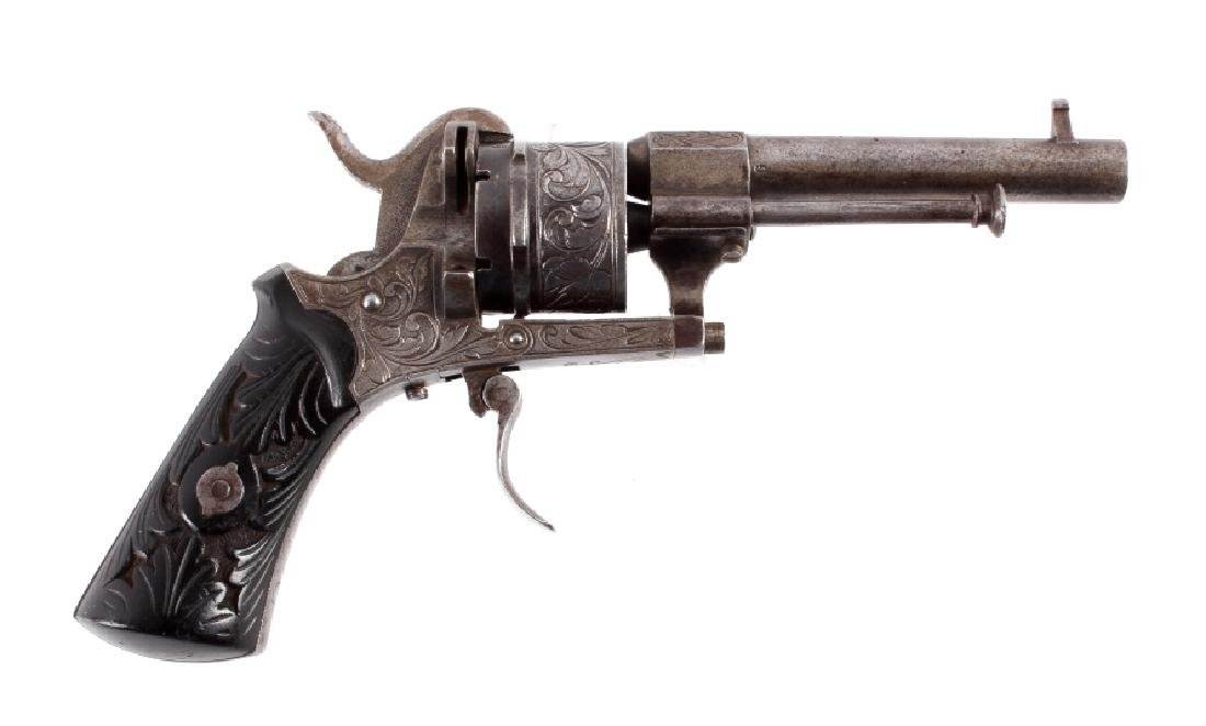 Engraved Belgian Pinfire 7mm Revolver - 2