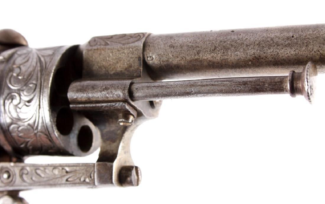 Engraved Belgian Pinfire 7mm Revolver - 9