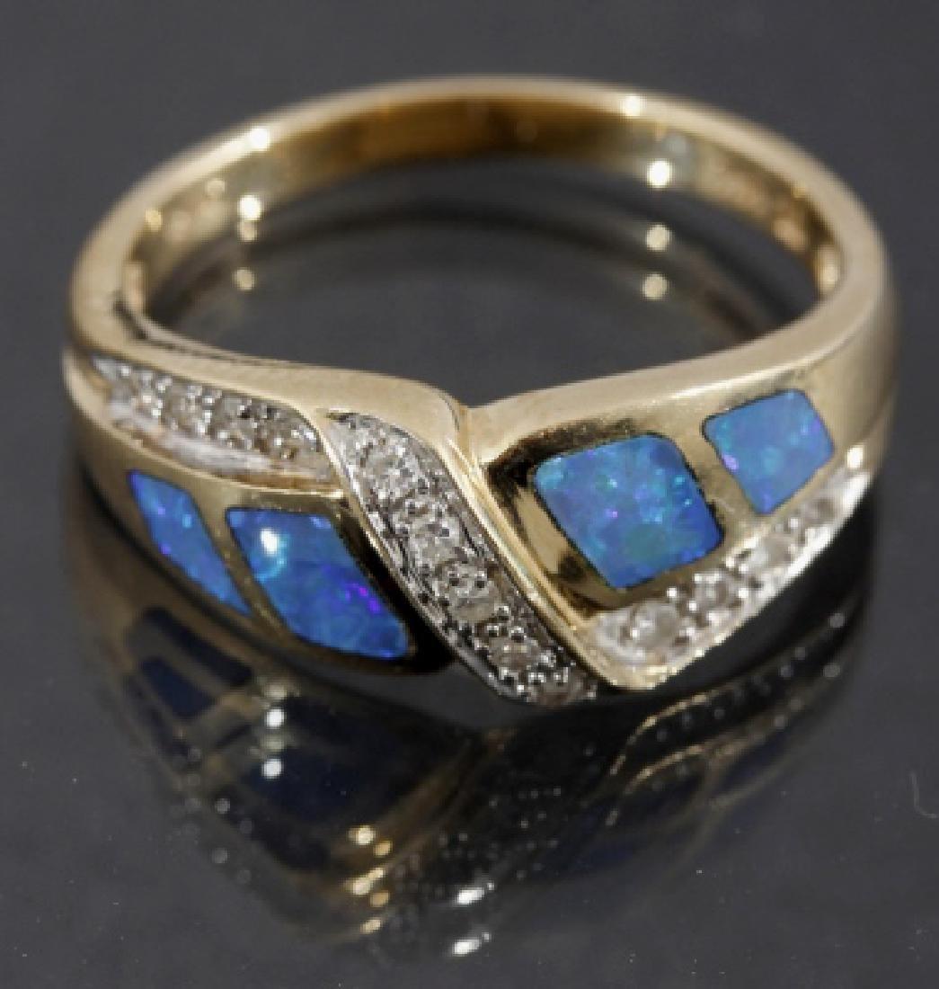 14 Karat Gold Diamond & Opal Ring