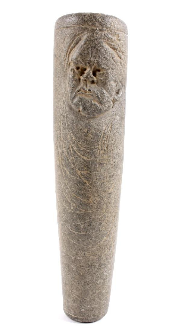 Hopewell Tradition Figural Carved Stone Tube Pipe