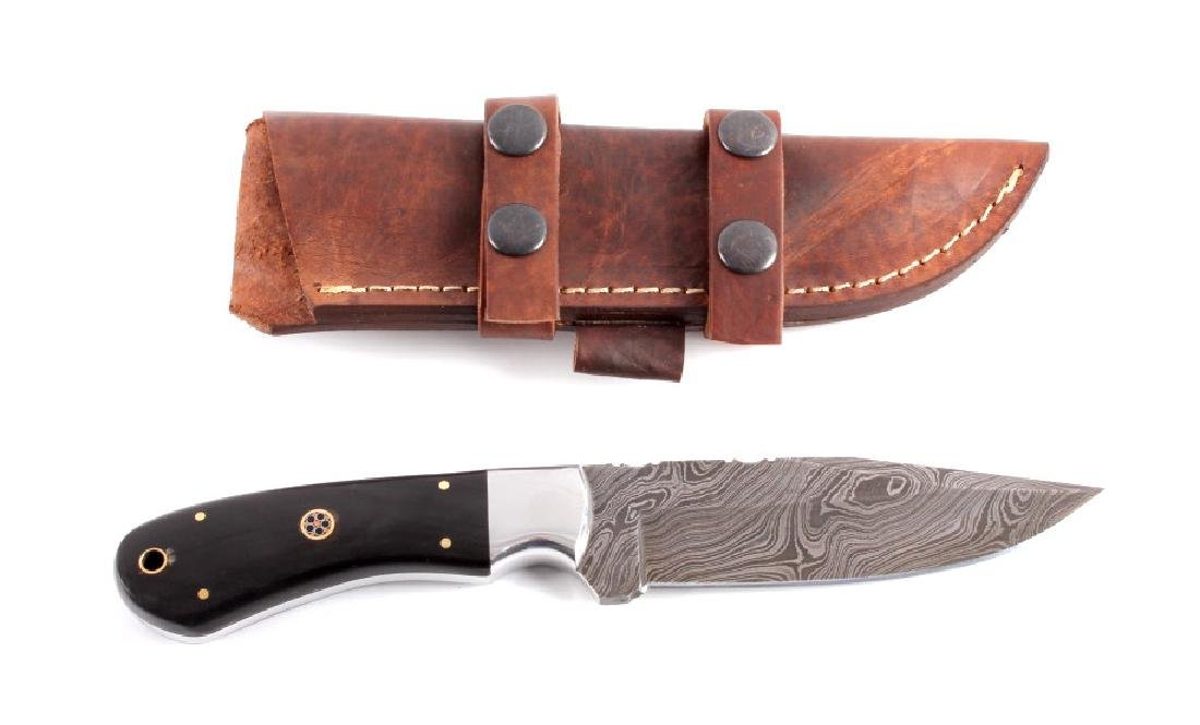 CFK Damascus & Buffalo Horn Knife Vine File Work