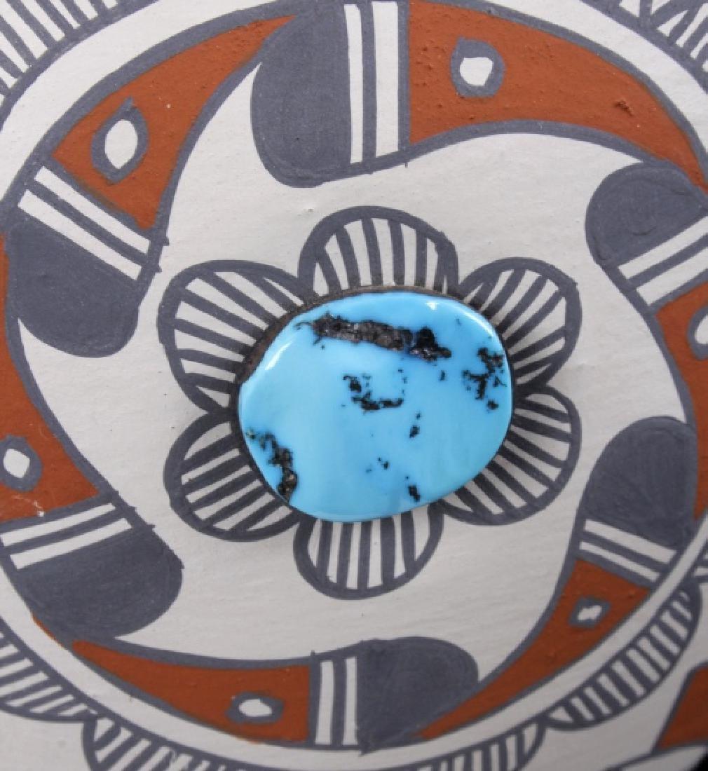 Jemez Pueblo Pottery Wedding Vase w/ Turquoise - 2