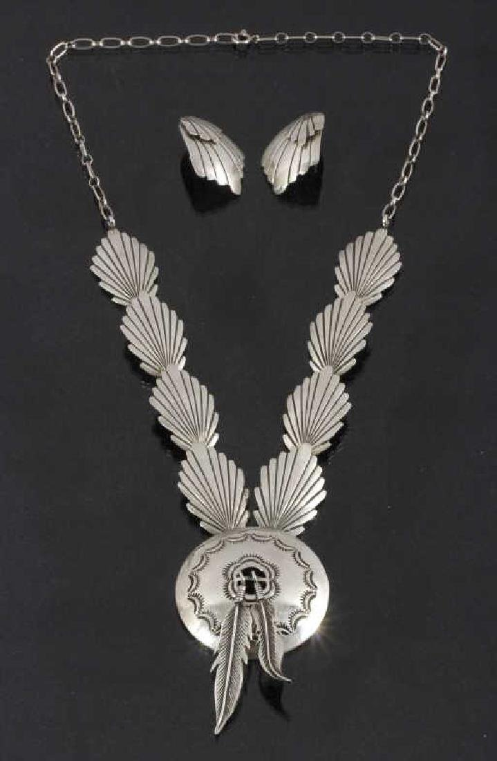 Navajo Stamped Sterling Silver Necklace & Earrings