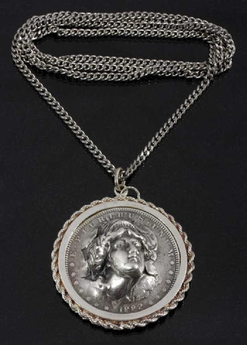 Folk Art Morgan Silver Dollar Pendant Necklace