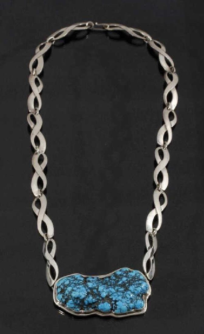 Navajo Sterling Silver & Raw Turquoise Necklace