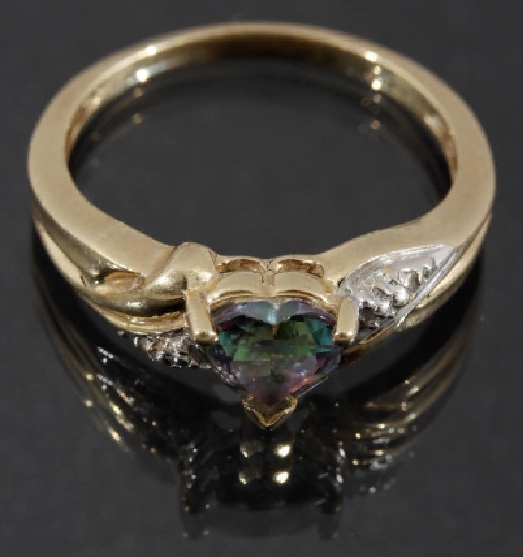 10 Karat Gold Mystic Topaz & Diamond Ring
