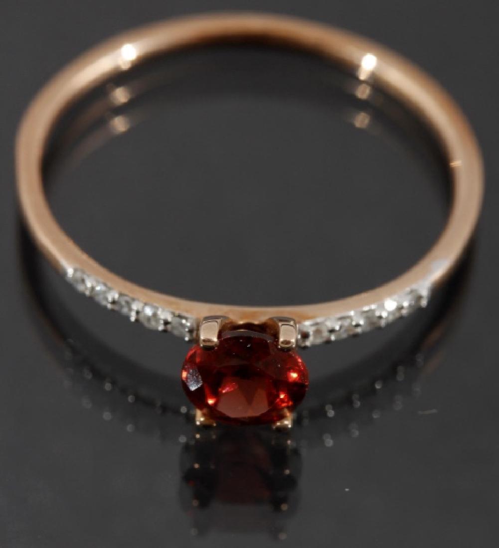 10 Karat Gold Round Cut Garnet & Diamond Ring