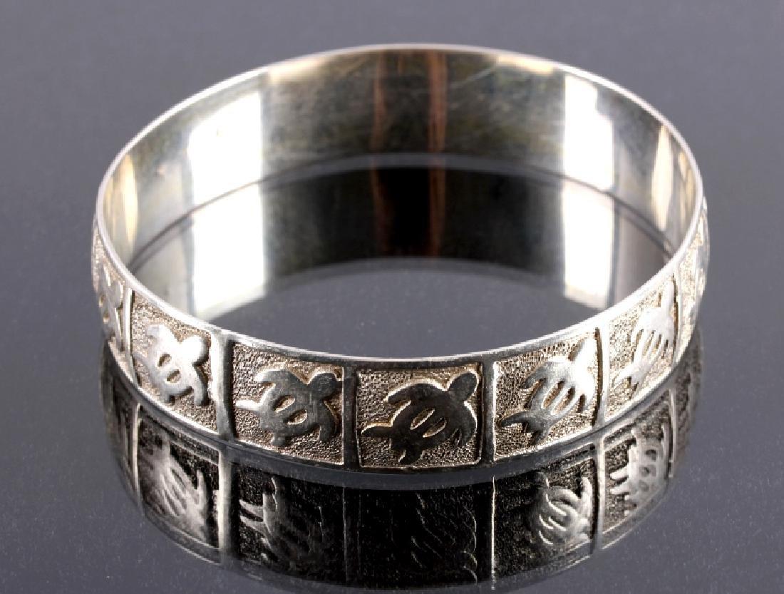 Sterling Silver Turtle Effigy Bangle Bracelet