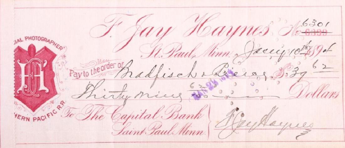 F. Jay Haynes Checkbook 1894 - 2