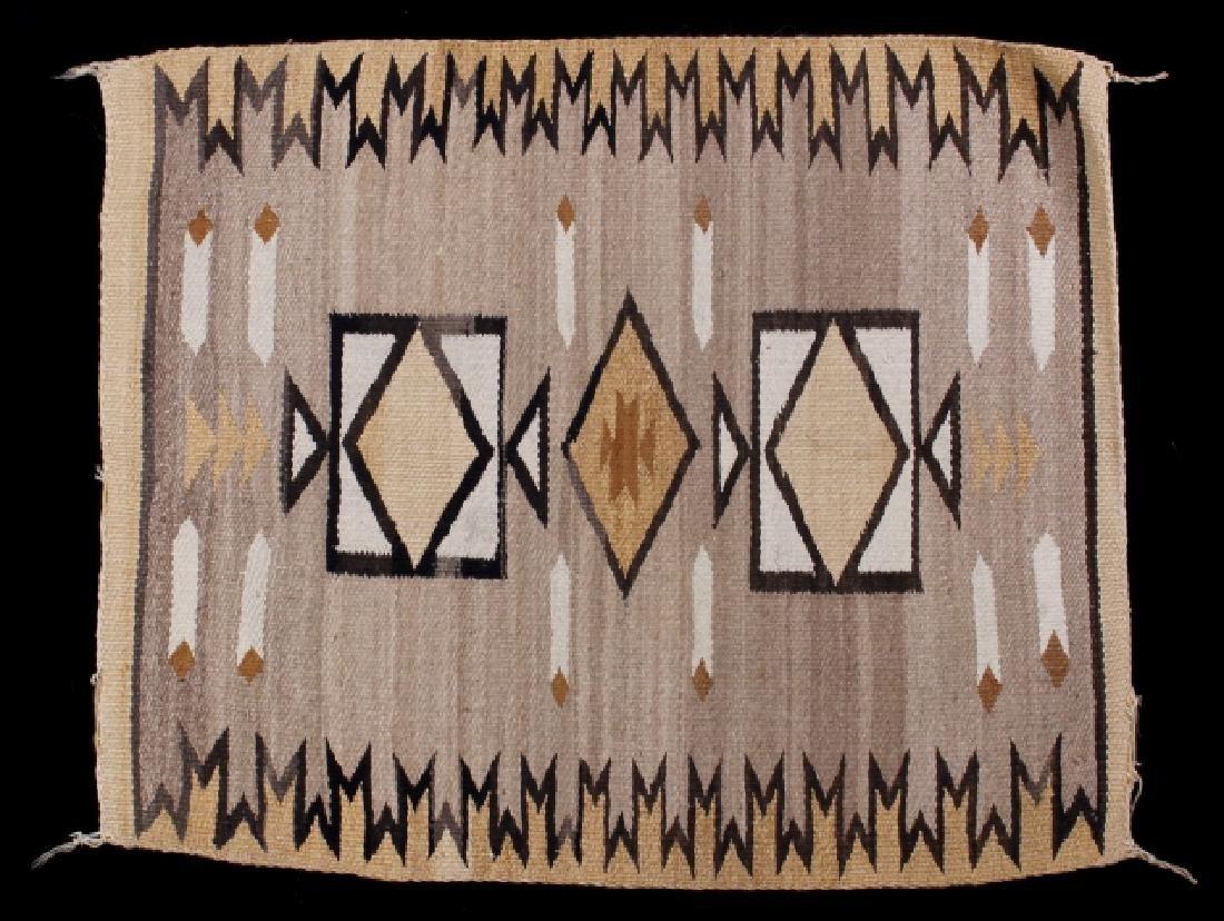 Navajo Two Grey Hills Pattern Wool Rug