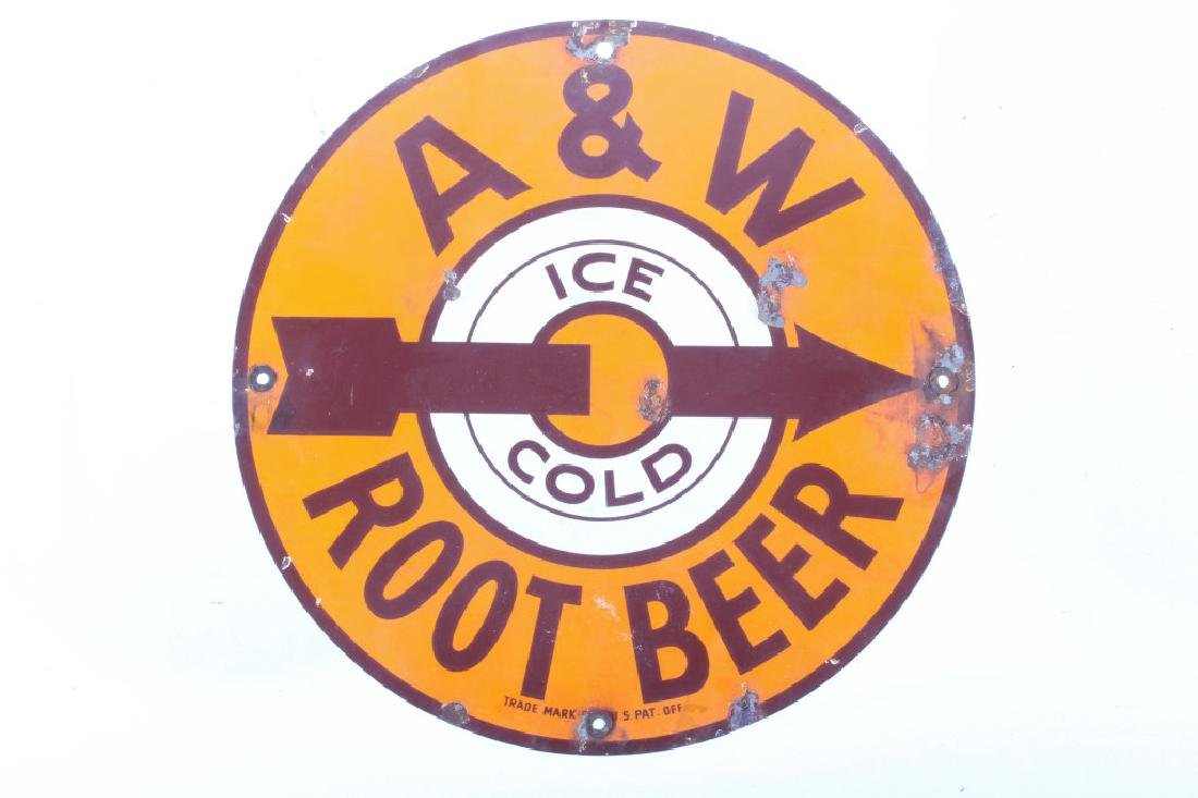Original A & W Root Beer Porcelain Sign