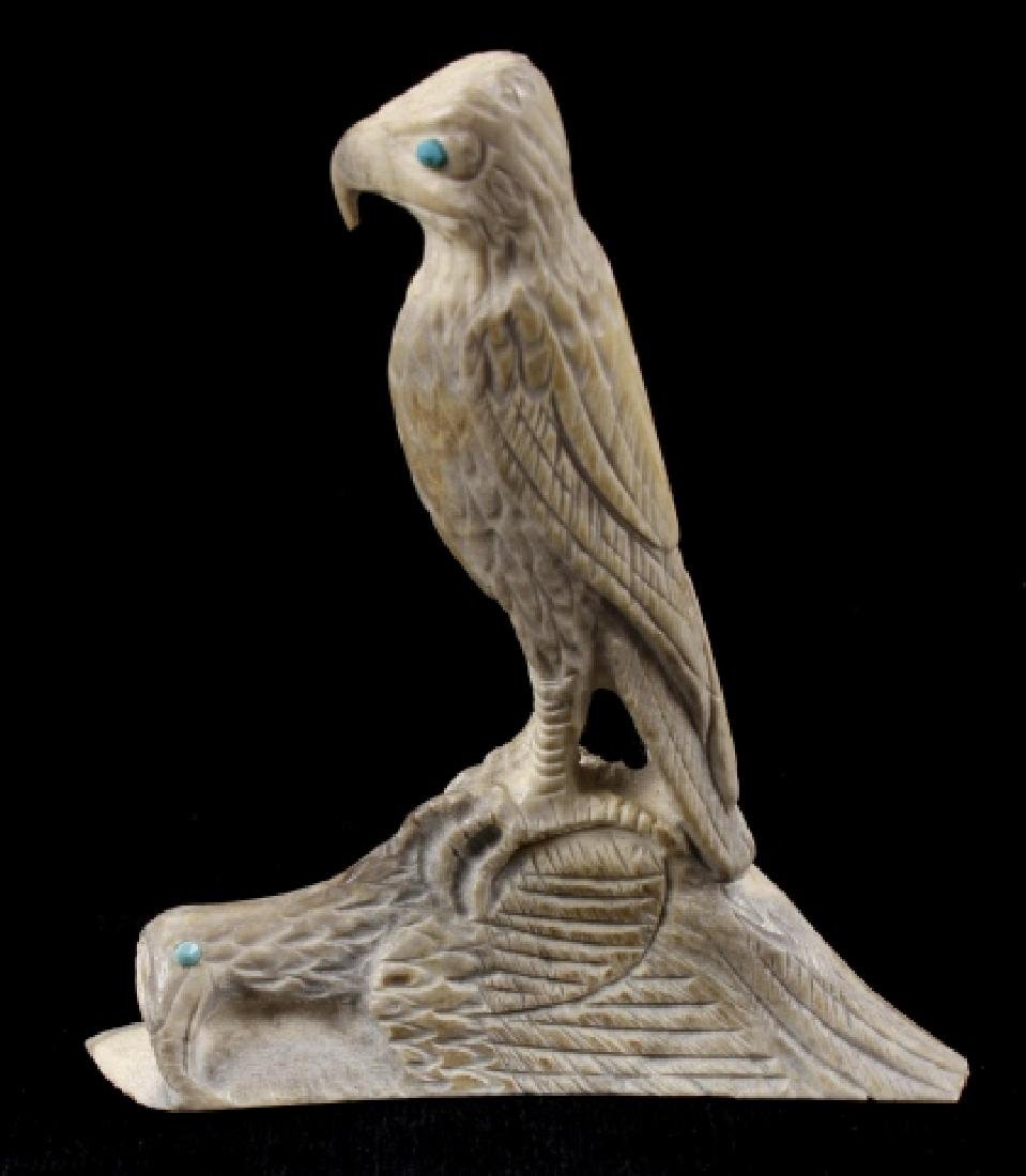 Zuni Maxx Laate Eagle Fetish Antler Carving