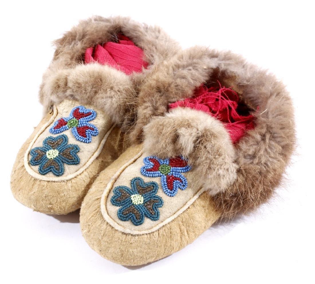 Ojibwe Floral Beaded & Fur Lined Moccasin
