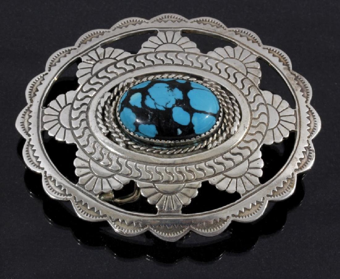 Navajo Sterling & Lone Mountain Turquoise Buckle