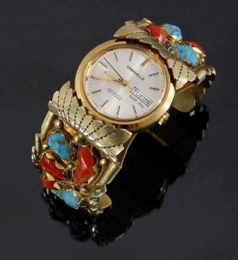 Zuni Wayne C. Gold Plated Multi-Stone Watch