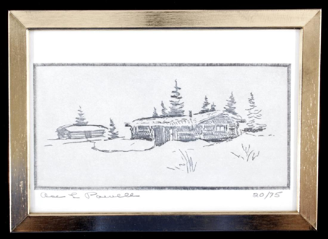 Ace Powell Montana Cabin Framed Etching 20/75