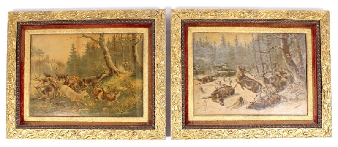 Early Deer Hunt Lithographs in Gilded Frames