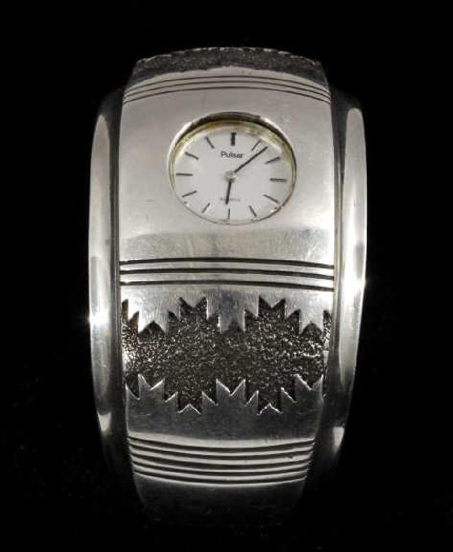 Alfred Joe Navajo Sterling Silver Cuff Watch