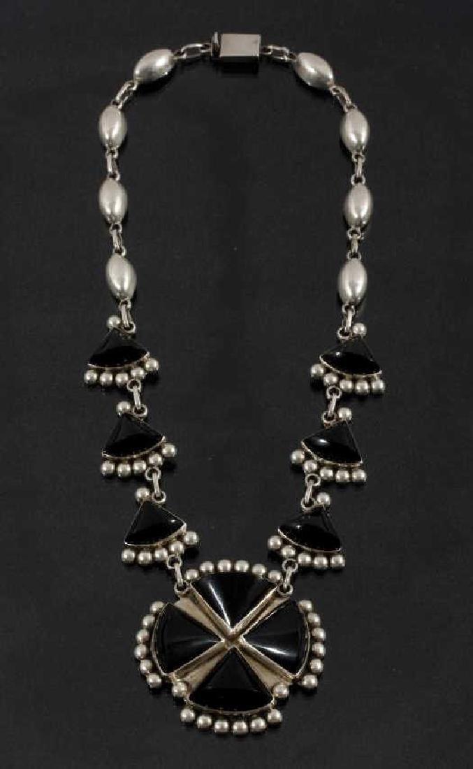 Southwest Sterling & Onyx Cross Necklace