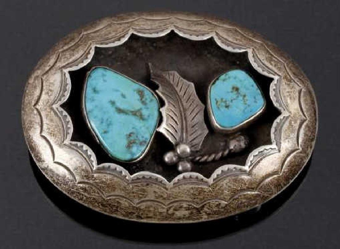 Navajo Old Pawn Silver, Turquoise Shadowbox Buckle