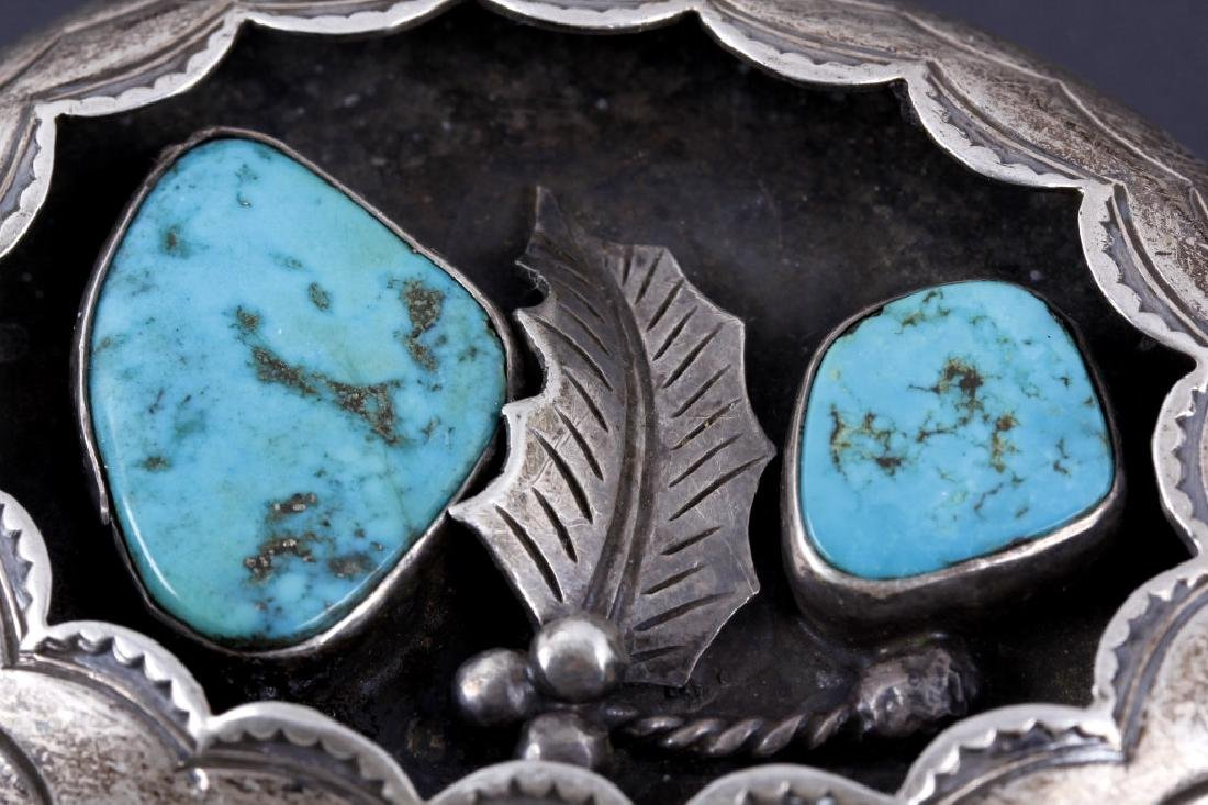 Navajo Old Pawn Silver, Turquoise Shadowbox Buckle - 2