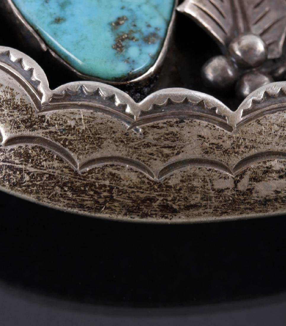Navajo Old Pawn Silver, Turquoise Shadowbox Buckle - 3