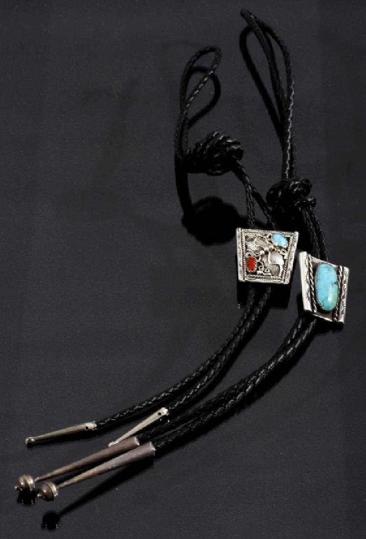 Navajo Sterling, Turquoise, & Coral Bolo Ties (2)