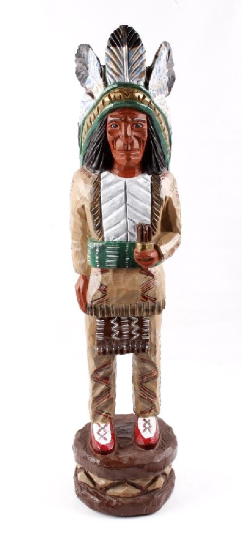Folk Art Miniature Cigar Store Indian Carving