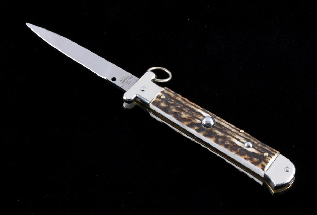 Campolin Ring Pull Stag Switchblade Knife