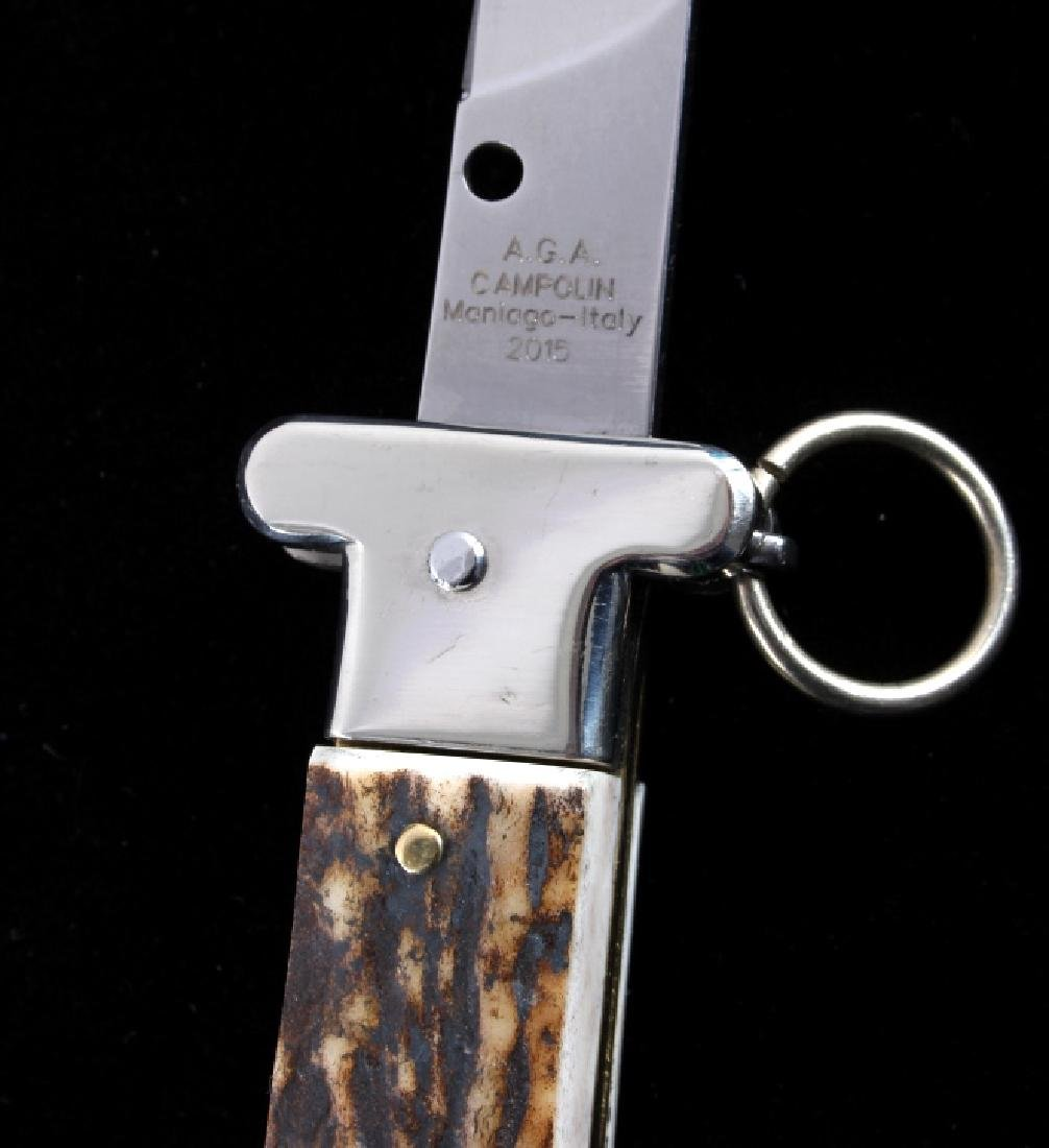 Campolin Ring Pull Stag Switchblade Knife - 5