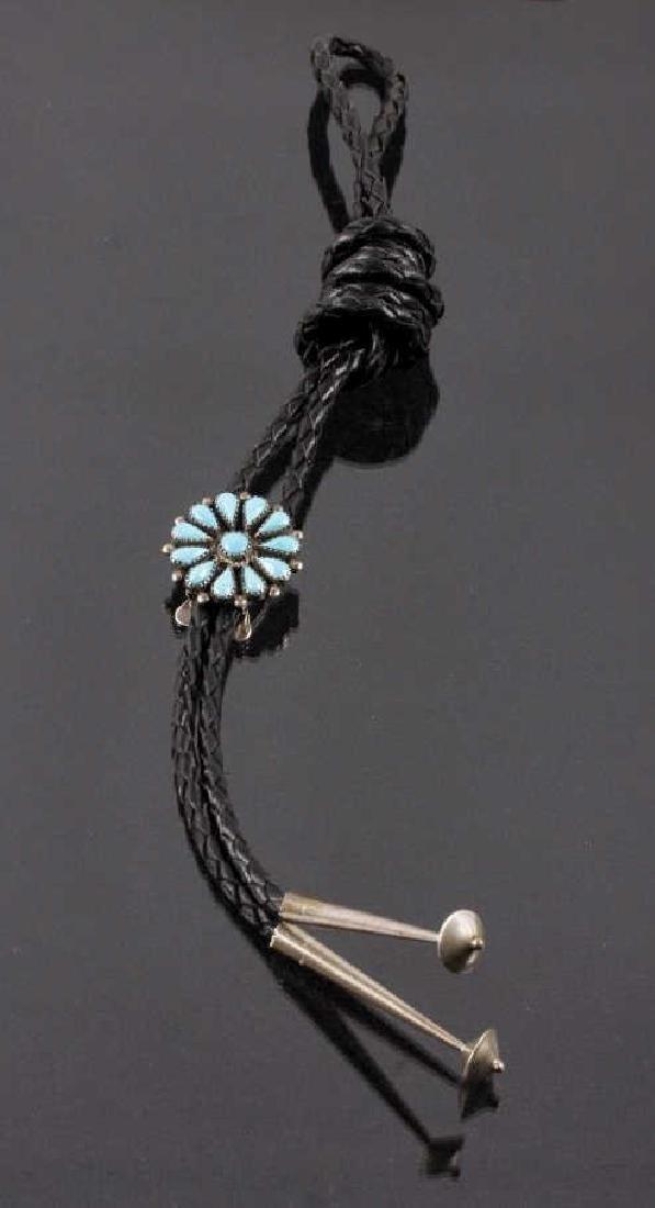 Zuni Petit Point Silver & Blue Gem Turquoise Bolo