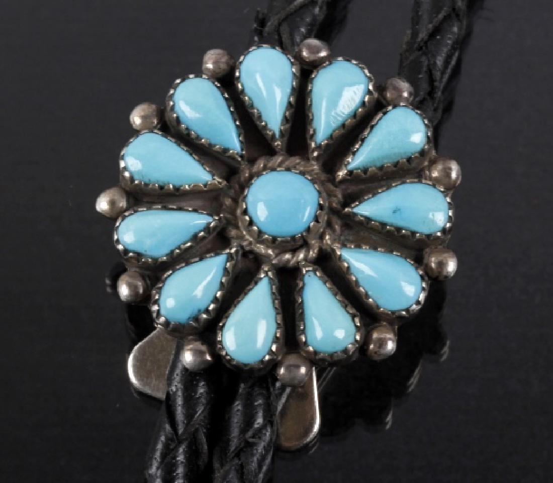 Zuni Petit Point Silver & Blue Gem Turquoise Bolo - 2