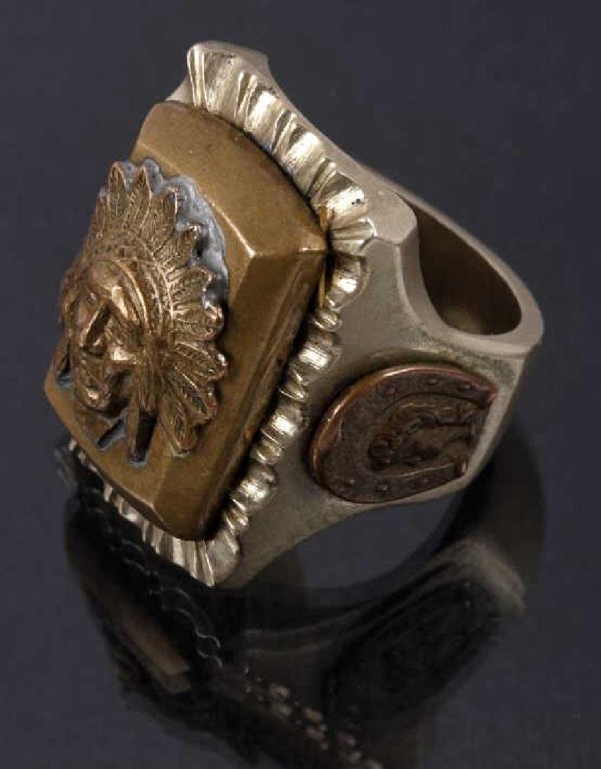 Navajo Brass & Copper Chief Pictorial Ring - 2