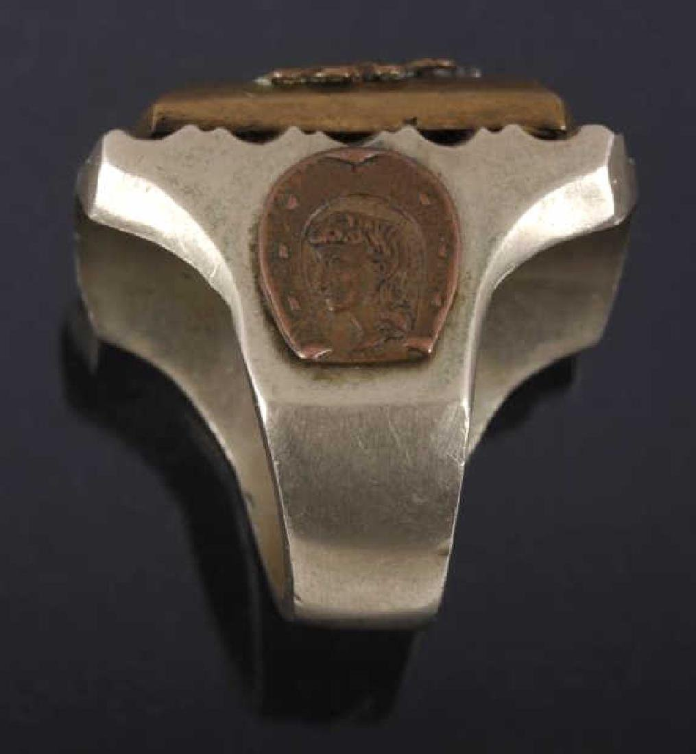 Navajo Brass & Copper Chief Pictorial Ring - 3