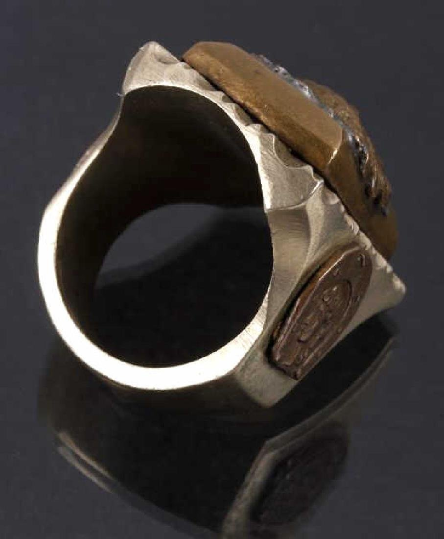 Navajo Brass & Copper Chief Pictorial Ring - 4