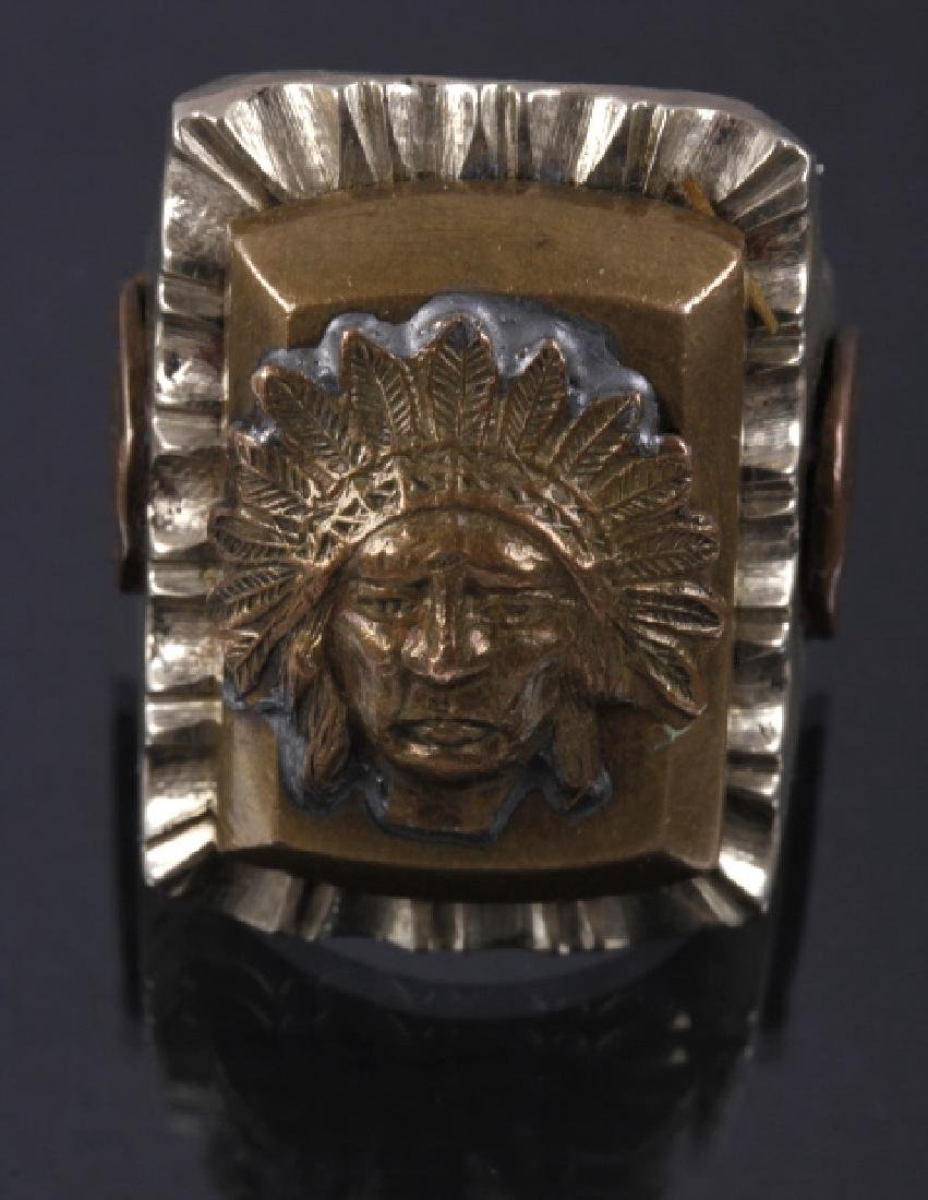 Navajo Brass & Copper Chief Pictorial Ring - 5
