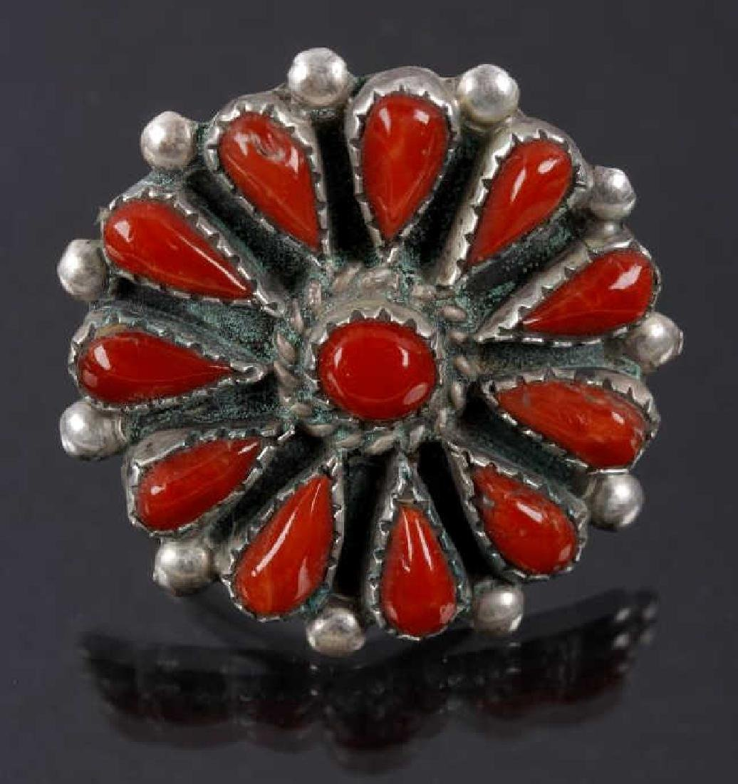 Navajo Petit Point Oxblood Coral & Sterling Ring