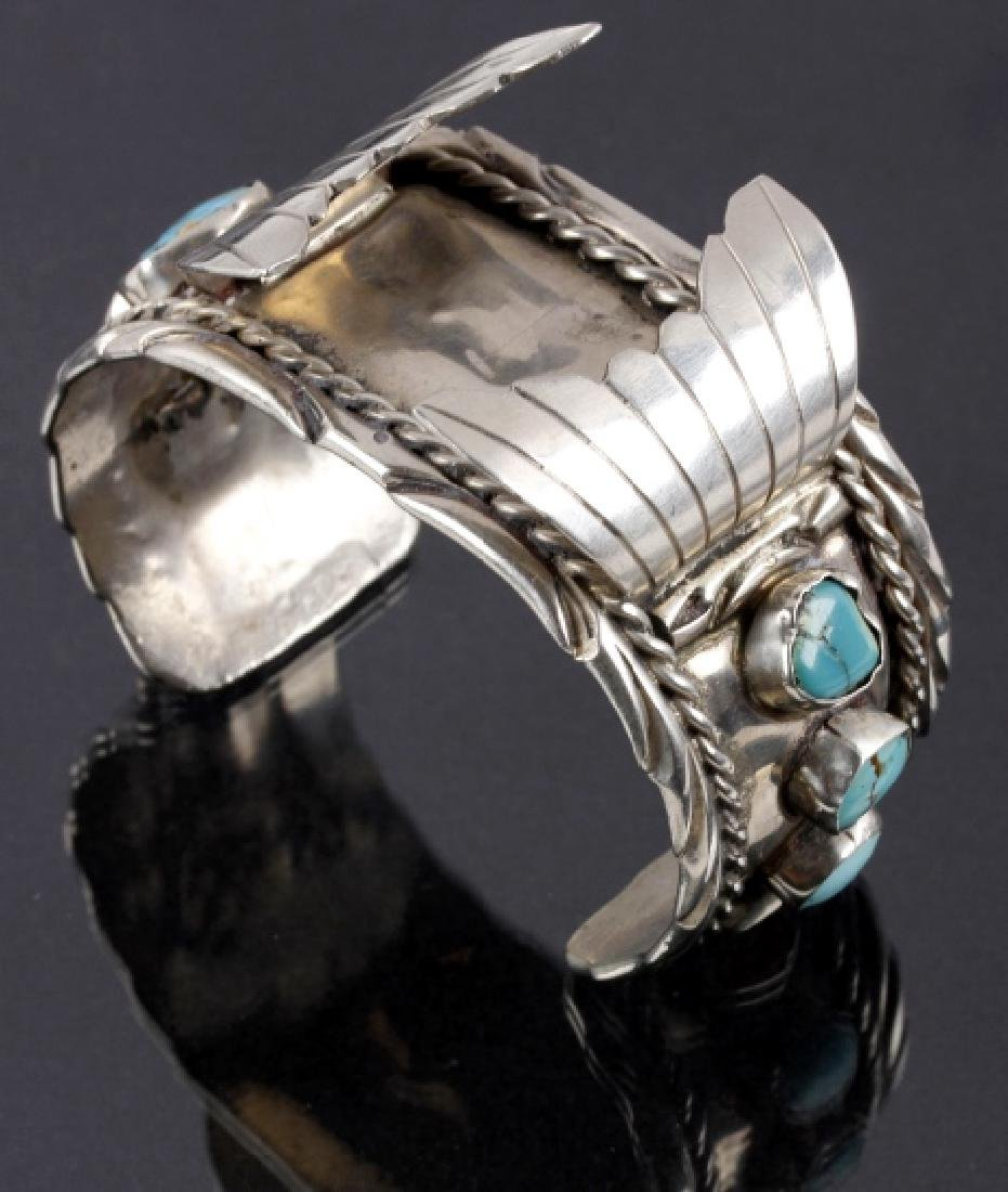 Navajo Silver, Coral & Multi-Turquoise Watch Cuff