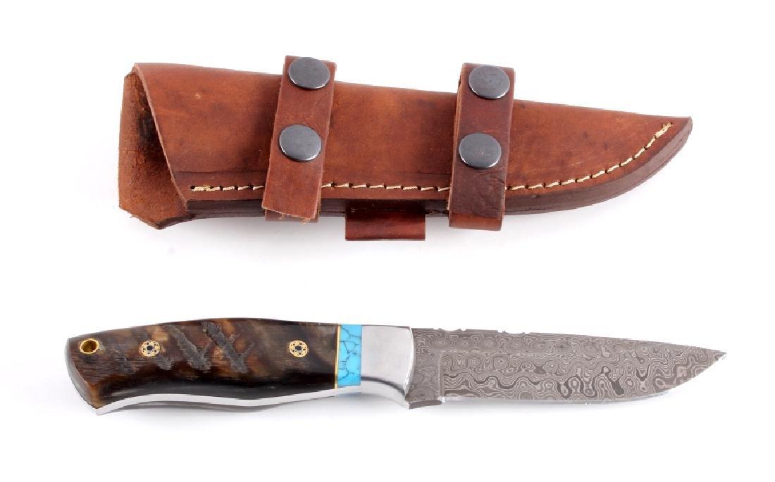 CFK Damascus Ram's Horn & Turquoise Knife