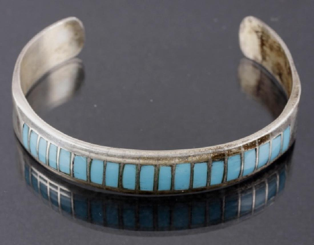 Signed Navajo Inlay Chip Turquoise & Sterling Cuff