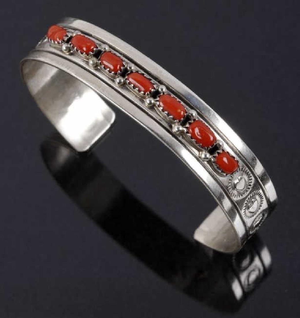 Navajo Oxblood Coral & Sterling Silver Bracelet