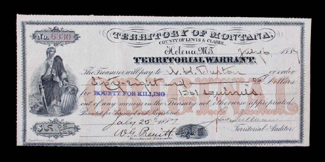 1887 Montana Territorial Bounty Warrant Check