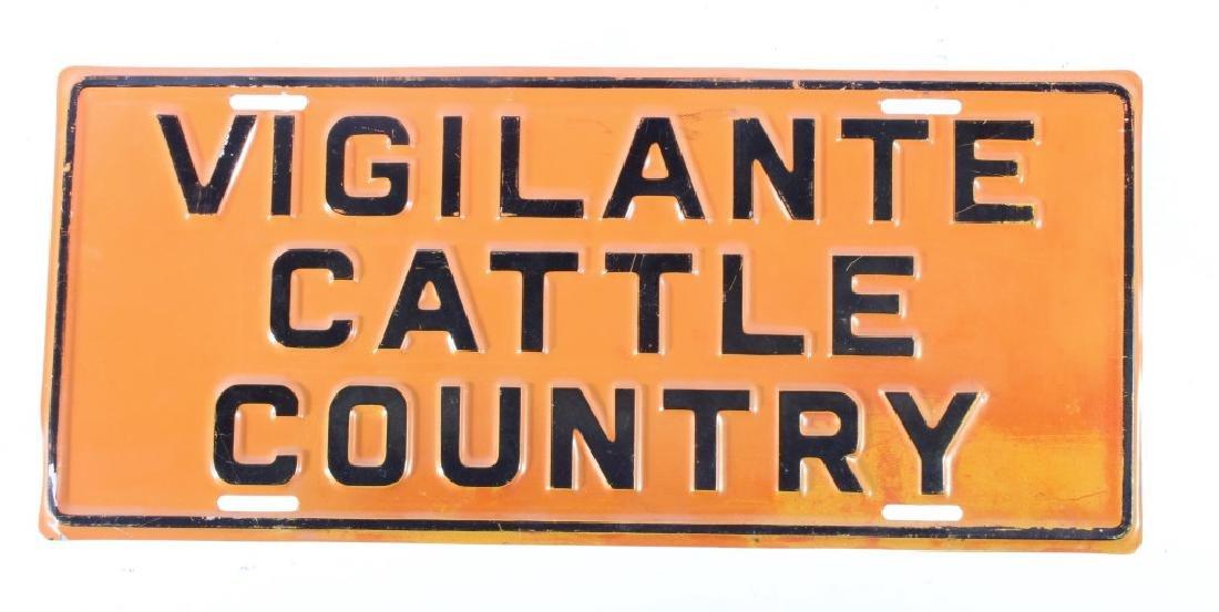 Scarce Vigilante Cattle Country License Plate