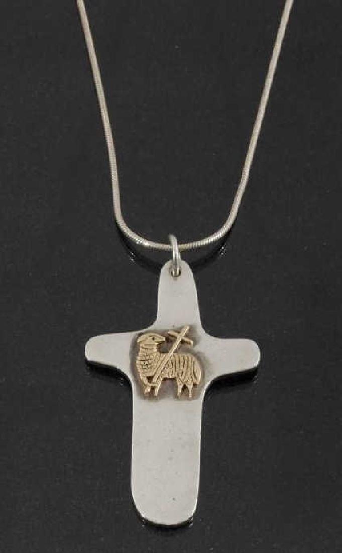 Sterling & 14k Gold Celtic Lamb Cross Pendant
