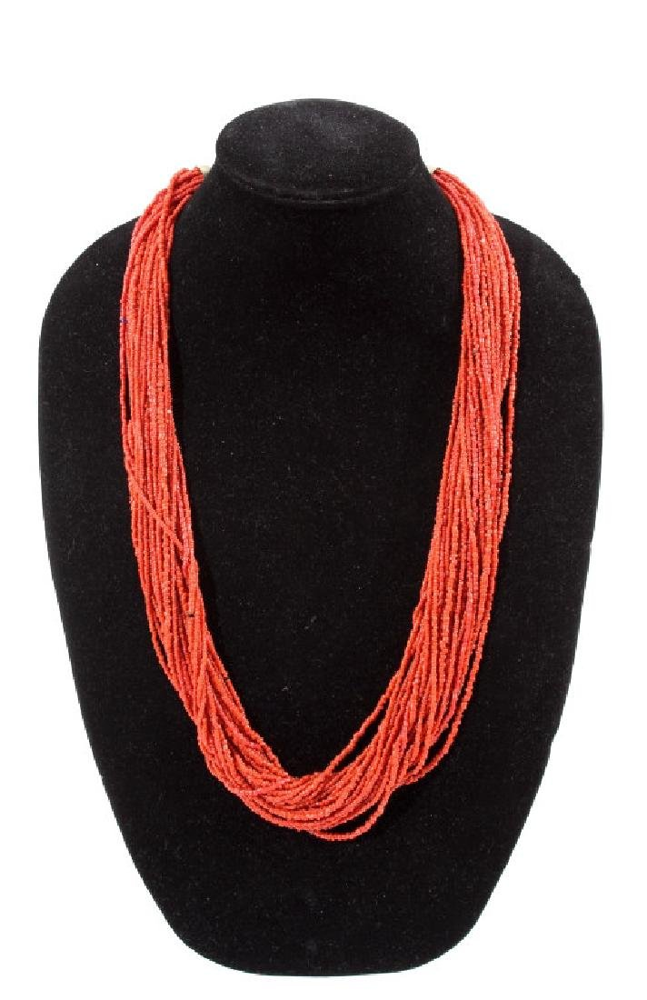 "31"" Multi-Strand Coral Necklace"