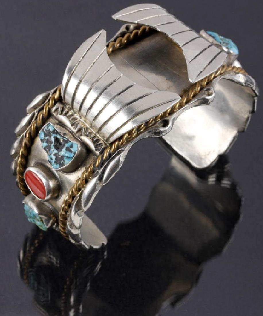 Navajo Sterling, Turquoise & Coral Watch Cuff