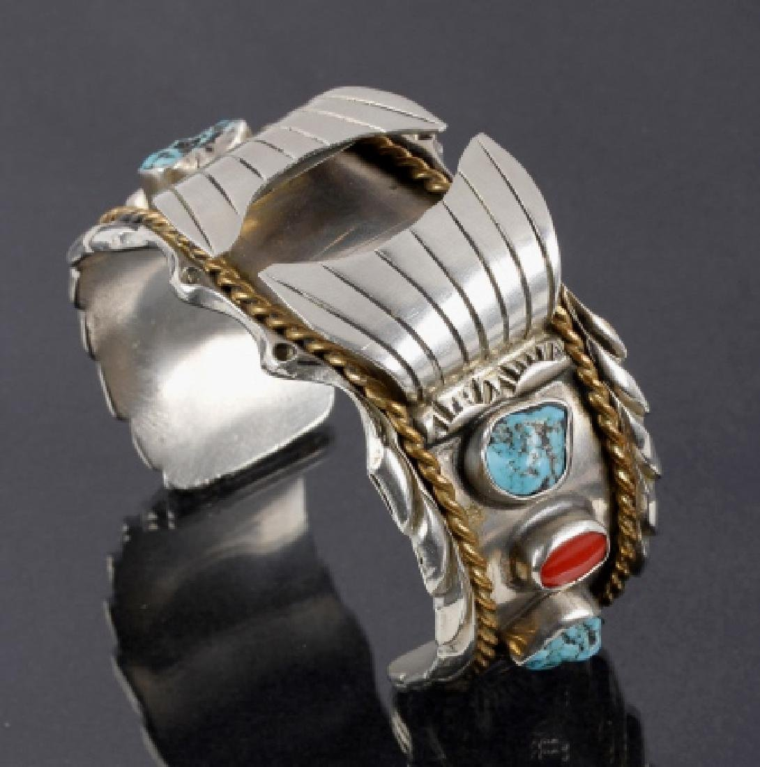 Navajo Sterling, Turquoise & Coral Watch Cuff - 2