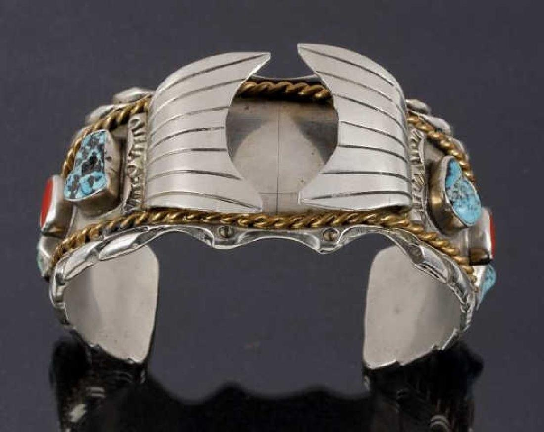 Navajo Sterling, Turquoise & Coral Watch Cuff - 3