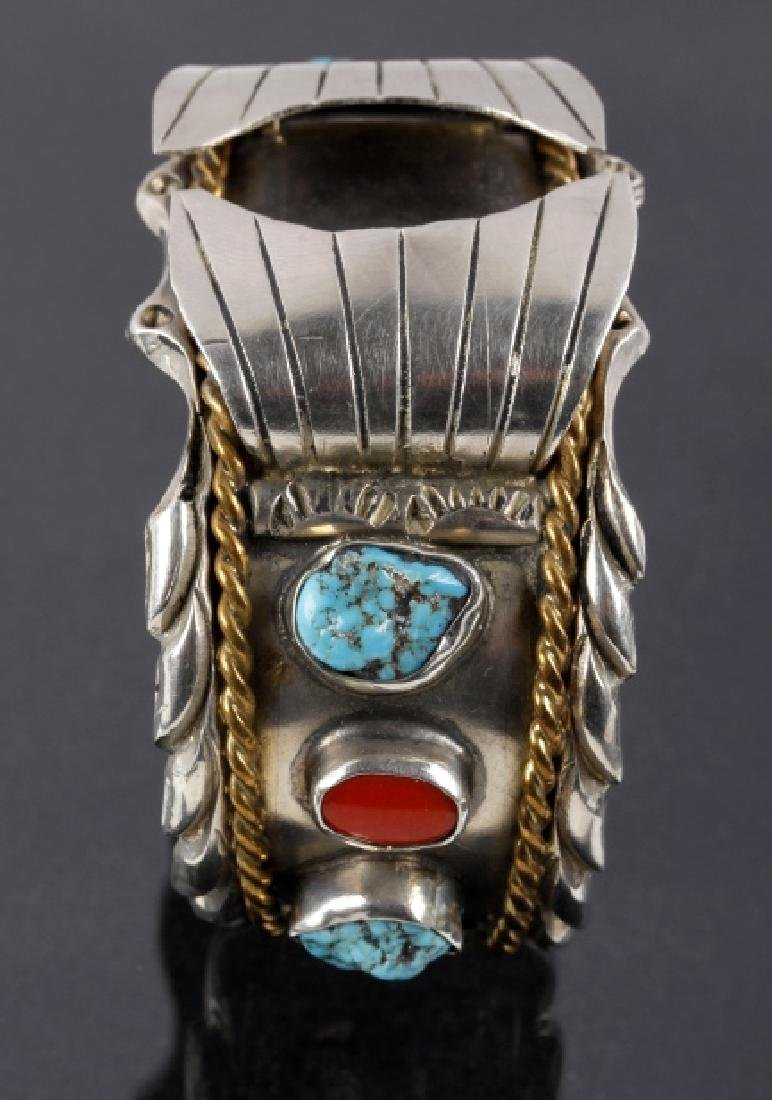 Navajo Sterling, Turquoise & Coral Watch Cuff - 4