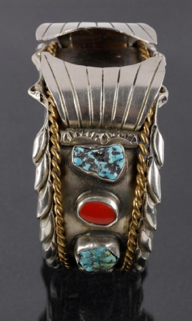 Navajo Sterling, Turquoise & Coral Watch Cuff - 5